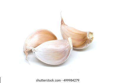 garlic cloves isolated on white background