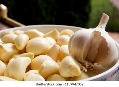 garlic. cloves of garlic. peeled garlic cloves