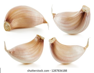 Garlic collection Isolated on white background. Garlic Clipping Path