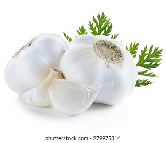 garlic decorated leaves isolated on white background