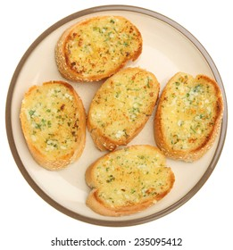Garlic and herb bread on white background.