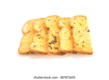 Garlic and herb bread slices on white background