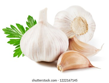 Garlic isolated on white background. Garlic with leaf.