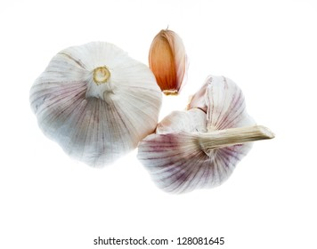 Garlic isolated on white background, pictured from top