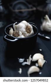 garlic on dark and dim light background