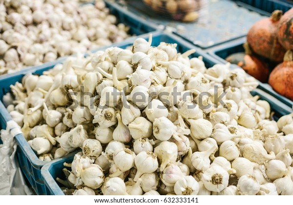 Garlic on the farm market. Natural local products on the farm market. Harvest. Seasonal products. Food.