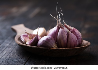 garlic on vintage wooden table