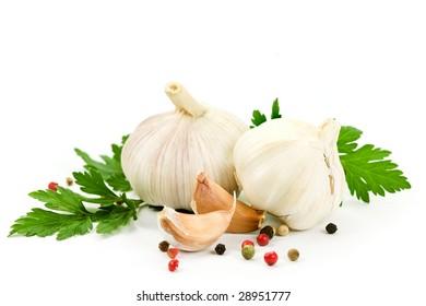 garlic on the white background