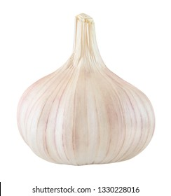 Garlic one whole isolated on white background with clipping path.