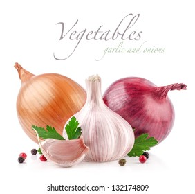 Garlic and onion with peppercorn and parsley isolated on white background