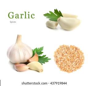 Garlic and parsley. Isolated on white background