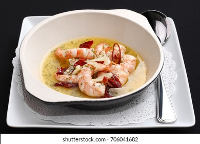Garlic Prawns (Gambas Ajillo) with spoon Spanish food