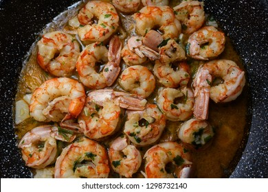 Garlic prawns, gambas al ajillo traditional spanish tapas