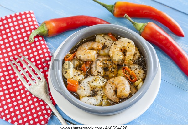 Garlic prawns, gambas al ajillo traditional spanish tapas