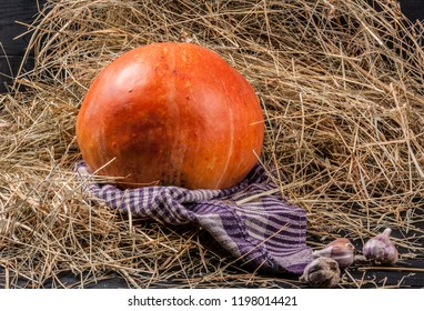 Garlic & pumpkin on the hay background. Village style.