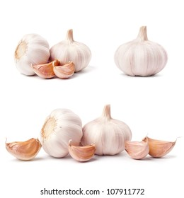 Garlic set isolated on white background