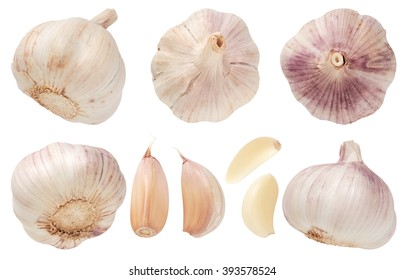 Garlic set isolated on white background. Top view.