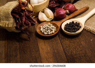 Garlic, shallots, pepper, dried chilli are ingredient of spicy food