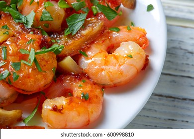Garlic shrimp pinchos tapas from Spain gambas al ajillo