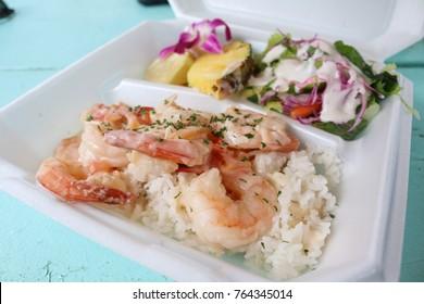 Garlic shrimp street food in Haleiwa, Oahu, Hawaii