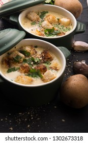 garlic soup with potatoes