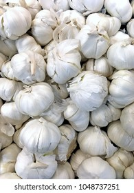 Garlic straight down shot for background, many white, light purple bulbs with skins. Fresh garlic bulb produce overhead view