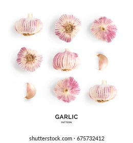 garlic. Tropical abstract background. Garlic on the white background.