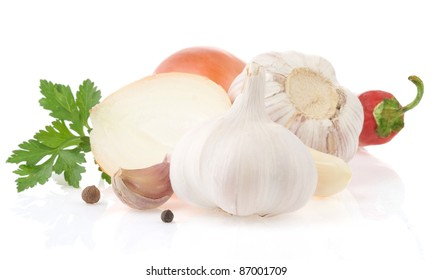 garlic vegetable and food ingredients with spices isolated on white background