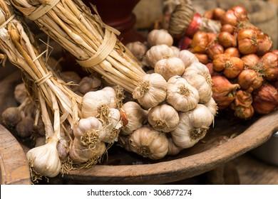 garlic in vintage kitchen