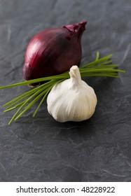 Garlic,chives,onion still