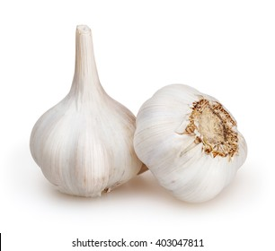 Garlics isolated on white background with clipping path