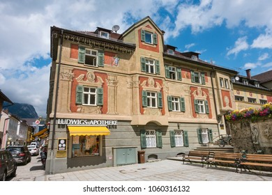 GARMISCH - JULY 6: The old Ludwigs-Apotheke pharmacy building in Garmisch-Partenkirchen, Germany in summer on July 6, 2016.