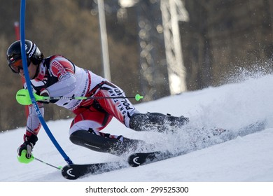 GARMISCH PARTENKIRCHEN, GERMANY. Feb 14 2011: Michal Klusak (POL) competing in the men's slalom at the 2011 Alpine skiing World Championships