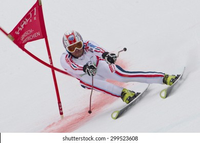 GARMISCH PARTENKIRCHEN, GERMANY. Feb 16 2011: Thomas Fanara (FRA) competing in the team event a parallel slalom race  at the 2011 Alpine skiing World Championships
