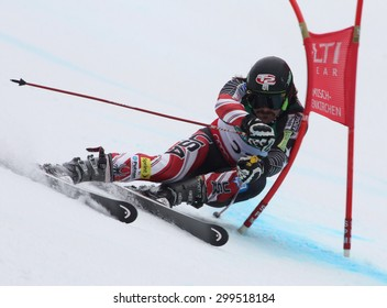 GARMISCH PARTENKIRCHEN, GERMANY. Feb 18 2011: Warner Nickerson (USA) competing in the mens giant slalom race on the Kandahar race piste at the 2011 Alpine skiing World Championships