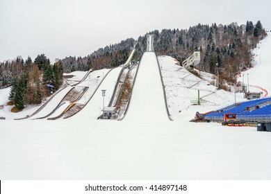 GARMISCH PARTENKIRCHEN, GERMANY - MARCH 13: The winter sport Olympic Stadium  on March 13, 2016 in Garmisch Partenkirchen, Germany.