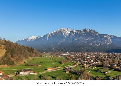 garmisch partenkirchen historic town bavaria germany in spring from above