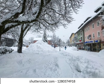 Garmisch-Partenkirchen, Bavaria / Germany - January 10, 2018: A blizzard brings heavy snowfall to southern Germany, blanketing the mountainous regions in beautiful white snow and preventing travel.