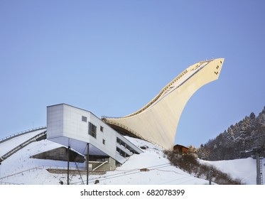 GARMISCH-PARTENKIRCHEN. GERMANY. 23 FEBRUARY 2011 : Springboard on Olympic stadium in Garmisch-Partenkirchen. Bavaria. Germany