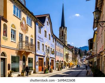 Garmisch-Partenkirchen, Germany - April 7: famous old town with historic buildings in Garmisch-Partenkirchen on April 7, 2020