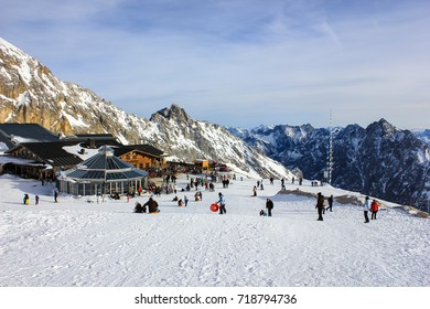 Garmisch-Partenkirchen, Germany - December 29, 2013: The Münchner Haus atop the Zugspitze, Germany's tallest mountain, offers visitors food and drinks year-round.
