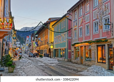 GARMISCH-PARTENKIRCHEN, GERMANY - JANUARY 06, 2015: Christmas mood in Garmisch-Partenkirchen, Germany. Streets of the town illuminated and decorated for the winter holidays