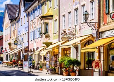 Garmisch-Partenkirchen, Germany - July 20: old town called Ludwigstrasse of garmisch-partenkirchen in germany on July 20, 2016
