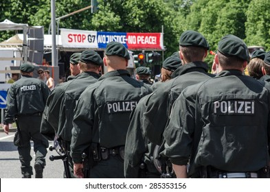 GARMISCH-PARTENKIRCHEN, GERMANY - JUNE 06: Massive police presence at protest against G7 summit. G7 leaders will meet at nearby Schloss Elmau on June 7-8.