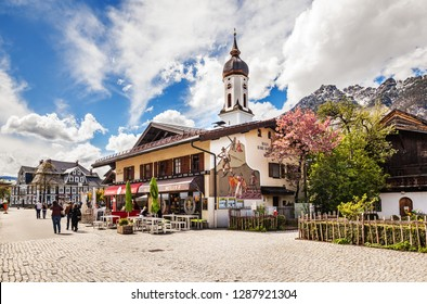 Garmisch-partenkirchen, Germany - May 2, 2017: View of the street in Garmisch-Partenkirchen in Bavarian Alps.