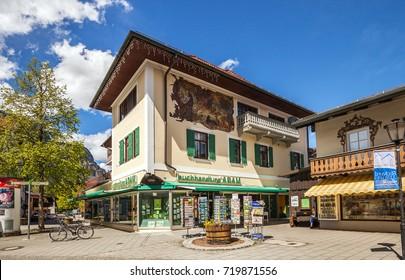 Garmisch-partenkirchen, Germany - May 2, 2017: Beautiful houses in Garmisch-Partenkirchen in Bavarian Alps.