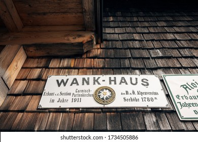 Garmisch-Partenkirchen, Germany - September 22nd 2015: Sign on the side of the Wank-Haus at the top of the wank mountain