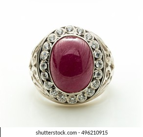 garnet precious jewels or stones on white background