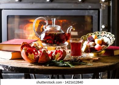 Garnet Pu-erh near a fireplace