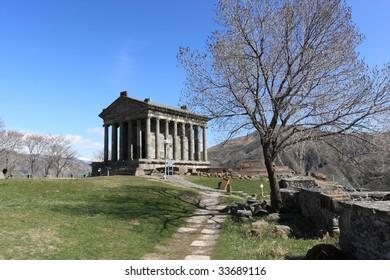 Garni - ancient temple in Armenia in spring